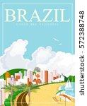 vector travel poster of brazil...   Shutterstock .eps vector #572388748