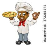 cartoon black chef character... | Shutterstock .eps vector #572388976