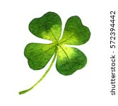 four leaf clover. watercolor... | Shutterstock . vector #572394442