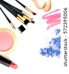 cosmetics and makeup. tools for ... | Shutterstock . vector #572395006