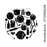 utensils. black grunge cutlery. ... | Shutterstock .eps vector #572400628