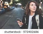 handsome brunette woman with... | Shutterstock . vector #572402686