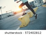 woman doing step up. sport in... | Shutterstock . vector #572402812