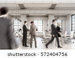 loft open office with rows of... | Shutterstock . vector #572404756