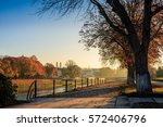 embankment of the old city early in the autumn foggy morning - stock photo