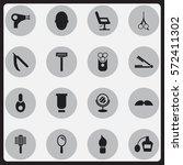 set of 16 editable coiffeur... | Shutterstock . vector #572411302