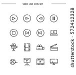 video flat icon set. collection ... | Shutterstock .eps vector #572412328