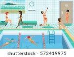 public swimming pool inside... | Shutterstock .eps vector #572419975