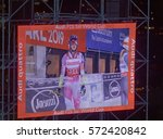 Small photo of STOCKHOLM, SWEDEN - JAN 31, 2017: Large jumbo-tron display at the parallel slalom downhill skiing eveny, at the Alpine Audi FIS Ski World Cup - city event January 31, 2017, Stockholm, Sweden