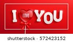 vector  card heart shaped red... | Shutterstock .eps vector #572423152