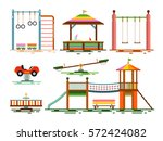 vector kids playground flat... | Shutterstock .eps vector #572424082