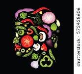 vector vegetables in the shape... | Shutterstock .eps vector #572428606