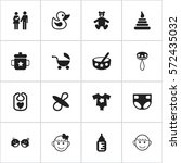 set of 16 editable child icons. ... | Shutterstock . vector #572435032