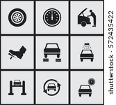 set of 9 editable vehicle icons.... | Shutterstock . vector #572435422