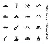 set of 16 editable trip icons.... | Shutterstock . vector #572437852