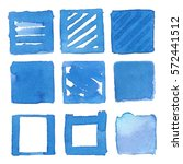 blue watercolor square. set of...   Shutterstock .eps vector #572441512
