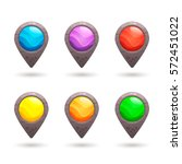 set of colorful vector stone...