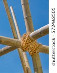 bamboo posts knot together with ... | Shutterstock . vector #572463505