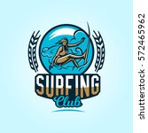 logo on surfing. emblem surfer... | Shutterstock .eps vector #572465962