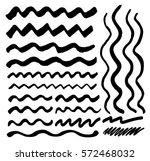 Set of black wavy stripes. Black brush strokes | Shutterstock vector #572468032