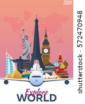 travel poster. discover europe. ... | Shutterstock .eps vector #572470948