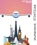 travel poster. around the world.... | Shutterstock .eps vector #572472166