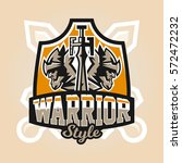 logo on the warrior. the emblem ... | Shutterstock .eps vector #572472232