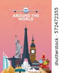 travel poster. around the world.... | Shutterstock .eps vector #572472355