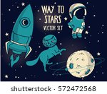 set for cosmic design in blue... | Shutterstock .eps vector #572472568