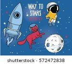 set for cosmic design in bright ... | Shutterstock .eps vector #572472838