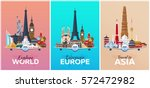 discover europe  explore europe ... | Shutterstock .eps vector #572472982