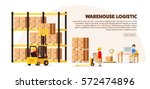 warehouse logistic background... | Shutterstock .eps vector #572474896