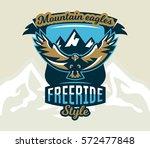 logo  emblem of an eagle flying.... | Shutterstock .eps vector #572477848
