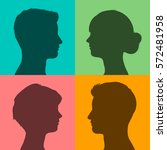 four silhouettes of male and...