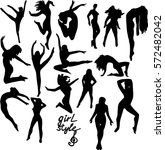 silhouette of a dancing girl.... | Shutterstock .eps vector #572482042