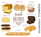 french pastries collection.... | Shutterstock .eps vector #572486596