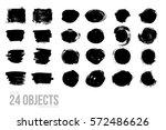 set of black paint  ink brush... | Shutterstock .eps vector #572486626