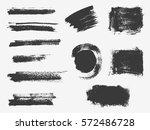 set of black paint  ink brush... | Shutterstock .eps vector #572486728