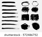 set of black paint  ink brush... | Shutterstock .eps vector #572486752