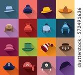 set of color winter hats in... | Shutterstock .eps vector #572491636