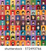 set of people icons in flat... | Shutterstock .eps vector #572493766