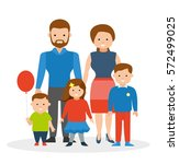 friendly fun family. mom  dad ... | Shutterstock .eps vector #572499025