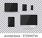 set of realistic tv  lcd  led ... | Shutterstock .eps vector #572504716