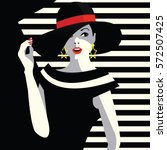 the fashionable girl in a hat.... | Shutterstock .eps vector #572507425