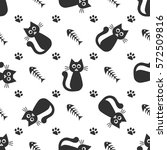 pattern with cute black cats ... | Shutterstock .eps vector #572509816