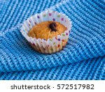 one corn muffin with chocolate... | Shutterstock . vector #572517982