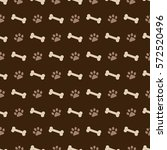 pattern with dog footprints and ... | Shutterstock .eps vector #572520496