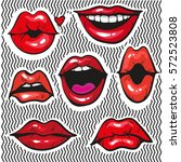 fashion patch badges with lips... | Shutterstock .eps vector #572523808