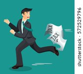 man escaping from paper taxes... | Shutterstock .eps vector #572529796