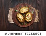 baked potatoes with bacon ... | Shutterstock . vector #572530975